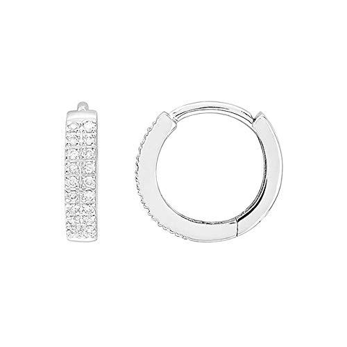 Lucky One Bijoux - Pendientes de aro de oro blanco de 18 quilates