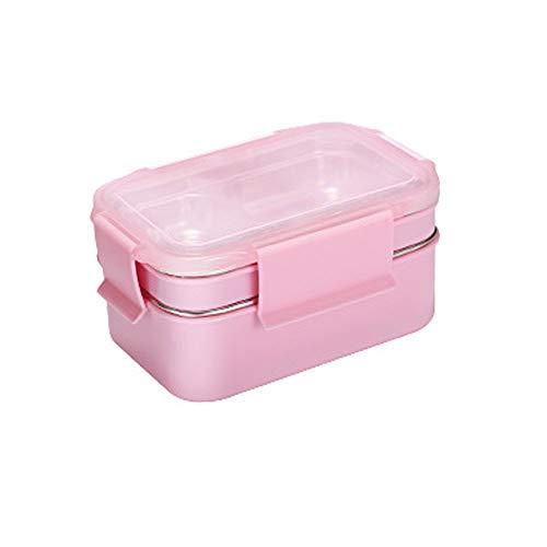 Amingkun Portable Bento Box può Essere Innaffiate for Riscaldare Contenitori di Acciaio Inox A Tenuta Stagna della Scatola di Pranzo con Vano Invia Isolato Borsa Cucchiaio E Bacchette (Color : Pink)