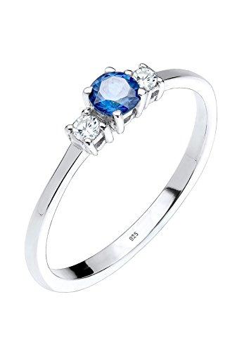 Elli Damen Echtschmuck Ring Verlobungsring mit Zirkonia Kristallen Saphirblau in 925 Sterling Silber