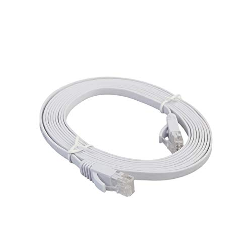 Cable de red plano Cat 6e, cable LAN RJ45, apantallado SETP, cable Ethernet Gigabit de alta velocidad, 500 MHz, para conmutadores de red, routers, módems, etc. (5 m)