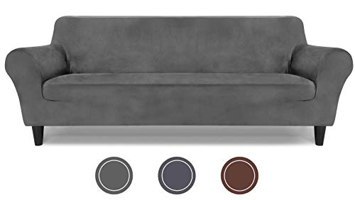 LuckIn Velvet Fitted Couch Covers for 3 Cushion Couch from 72
