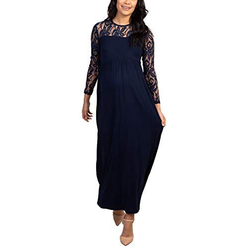 Bowanadacles Damen Maxikleid Schwangerschaftskleid Langarm mit Spitze Stillkleid Fotografie Zeremonie Elegant (Navy Blau, XXL)