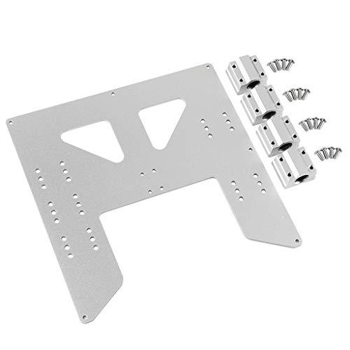 QuanRuiWuLiu Componentes de impresión en 3D Y de Aluminio Caliente del Carro de Soporte de lecho Placa con Deslizador for la Impresora 3D, Durable y Resistente (Color : Silver)