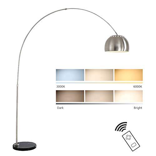 QJUZO Bogenleuchte LED Dimmbar Stehleuchte, Bogenlampe Wohnzimmerleuchte mit Fernbedienung, Stehlampe Chrom mit Marmorfuss, Höhenverstellbar