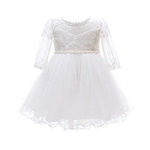 Zhhlinyuan Bébé Filles Robe de Bal Princesse Fleur Tutu Jupe Robe de Fête d'anniversaire 0-24 Mois - Enfants Robes de Baptême Dentelle Robe de Pageant Mariage