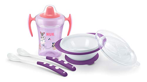 NUK - Juego de vajilla infantil con vaso para aprender a beber   cuenco para comer con 2 tapas y cucharas de alimentación para bebé (x2), 6 meses   color rosa