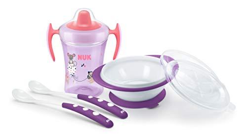 NUK - Juego de vajilla infantil con vaso para aprender a beber | cuenco para comer con 2 tapas y cucharas de alimentación para bebé (x2), 6 meses | color rosa