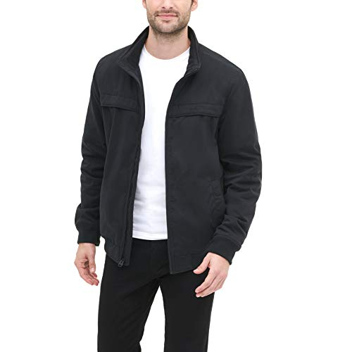 Dockers Men's Micro Twill Golf Bomber Jacket, Black, Large