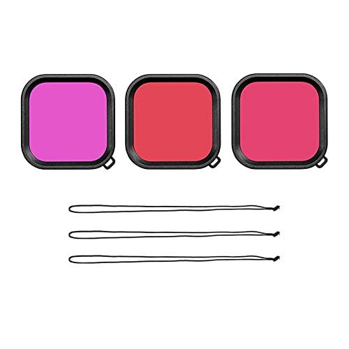zmigrapddn Funda de Lente Impermeable para GoPro Hero 9 Filtro de Buceo bajo el Agua Rosa Rosa Púrpura Filtros de Buceo Accesorios de cámara Accesorios ( Colour : 3 in 1 )