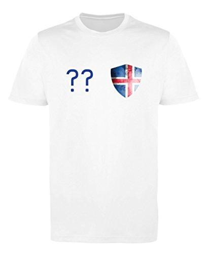 Comedy Shirts - Island Trikot - Wappen: Klein - Wunsch - Mädchen Trikot - Weiss/Royalblau Gr. 98-104