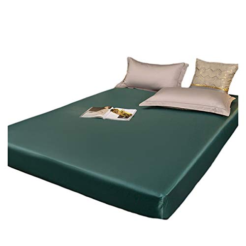 QIANGU Protector De Colchón Tela De Seda Lavada Funda De Colchon Impermeable Transpirable Suave con Bolsillo De 30 Cm De Profundidad (Color : Green, Size : 120x200+30cm)