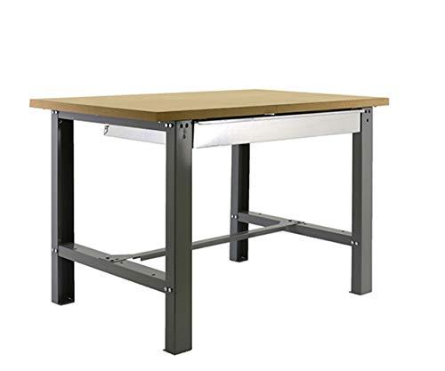 Banco de trabajo industrial con cajon BT6 Simonwork Plywood Gris/Madera Simonrack 865x1500x750 mms - banco de trabajo resistente 800 Kgs de capacidad por estante