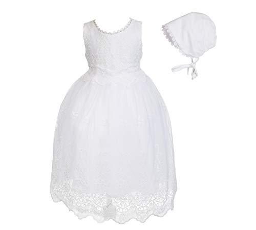 Cinda Baby-weißes Spitze-Taufkleid und Mütze Ohne Bolero 80-86