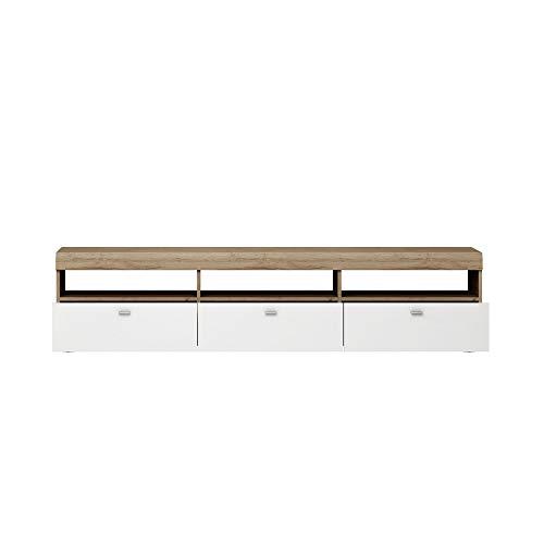 Newfurn TV Lowboard natuur TV kast TV tafel rek board II 182,8x42,5X 46,6 cm (BxHxD) II [Thies.one] in Grandson licht eiken / hoogglans wit woonkamer slaapkamer