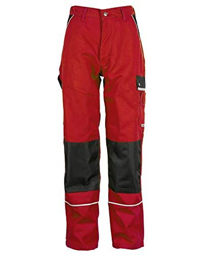 TMG® Lange Arbeitshose für Herren, Bundhose/Cargohose mit Kniepolstertaschen, Rot 52