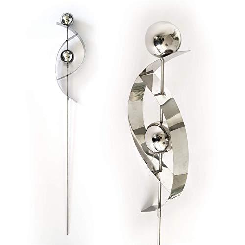 K&L Wall Art Moderner Gartenstecker, Silber glänzender Edelstahl, 108 cm Kugel Metall Gartendeko