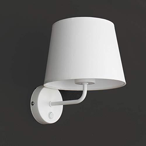 Wandleuchte Weiß Stoff Schirm Trichter Metall Gestell Bauhaus Design Schlicht E27 Flurlampe Wandlampe