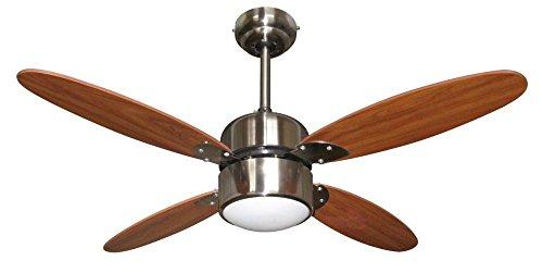 Zephir Ventilatore da Soffitto con Lampada, Legno, Marrone