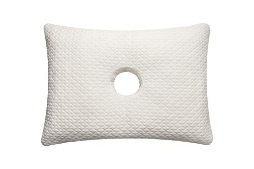 Pillow with Ear Hole Memory Foam Pillow with an Ear Hole for Ear Pain and CNH (GET Bonus 2 Pillowcases White Color ,One Pillow with Hole Medium Rectangle Design - Size - 20 x 14 x 3 inches).