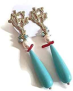 orecchini agata, orecchini scaglie bambu' corallo, orecchini pietre dure, orecchini corallo, orecchini estate, orecchini