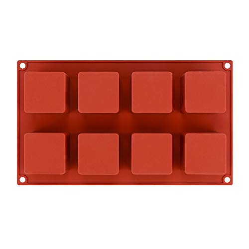 Non-Stick Square Shape Silicone Mold for Baking Dessert for Cube Chocolate/Truffle Cookie/Cake/Handmade Resin Mini Soap,Brownie Baking Tools(8-Cavity,5.115.1cm)