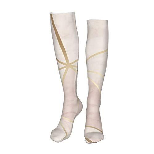 Vilico Lässige kniehohe Strümpfe, Overknee-Strümpfe, lange Socken, Zara-Schimmer, metallisch, weich, rosa, gold, Unisex, Sport für Männer und Frauen