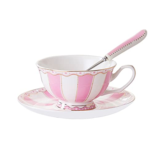 Taza de té china/taza de té y taza de té con una cuchara 6.7oz, para el hogar, el restaurante, el hogar, el rosa, con el soporte (6 sets) 1