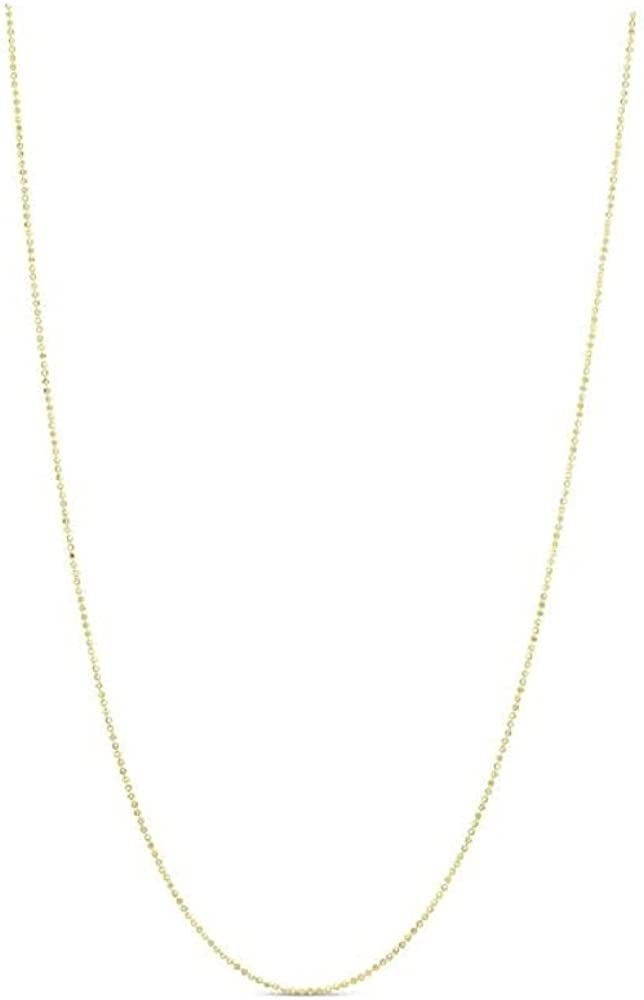 14K Solid Yellow Gold 1mm Ball Bead Chain Necklace- Available in 16