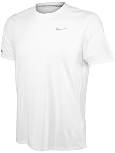 Nike Contour T-Shirt Homme, Blanc/Reflective Silver, FR : L (Taille Fabricant : L)