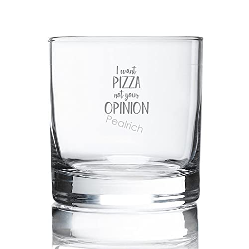 Vaso de whisky con grabado de 8 onzas, I Want Pizza Not Your Opinion para amantes de la pizza, copas de cóctel de cristal para hombres, copa de whisky para bourbon, brandy de coñac