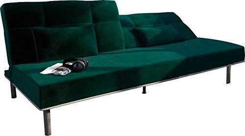 B-famous SEAT DREAMS Sofa Sofabett, Samt Velours-Stoff, grün, 202x89x82 cm