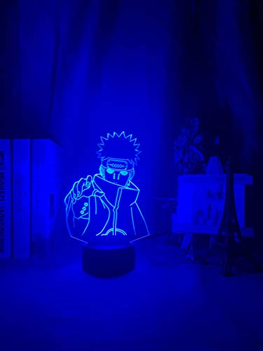 Naruto Nagato Figure Kids Night Light Led Color Changing Child Bedroom Nightlight Birthday Gift Table Lamp Six Paths of Pain,7 Colors no Remote