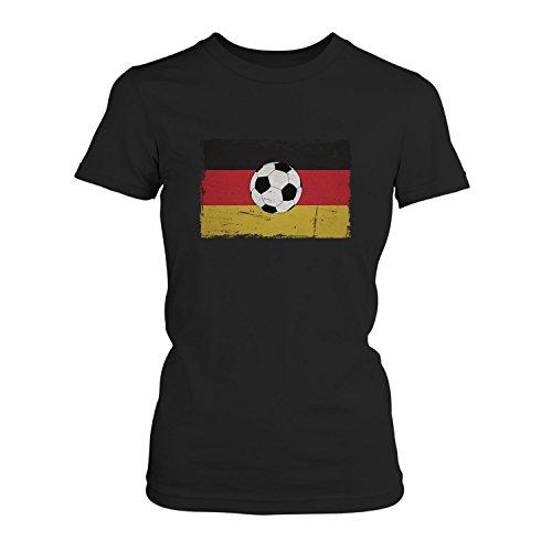EM 2016 Deutschland Flagge - Damen T-Shirt von Fashionalarm | Shirt für Fußball Fans | Print im Vintage Destroyed Used Look | Europameisterschaft Europameister Trikot Deutsche Nationalmannschaft, Farbe:schwarz;Größe:5XL