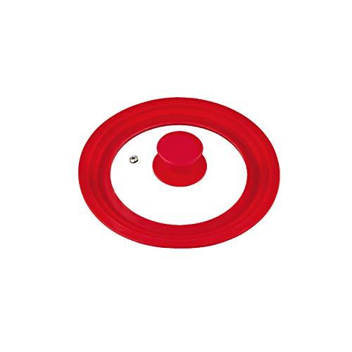 bremermann coperchio universale con bordo in silicone, 16/18/20 cm, piccolo (Rosso)