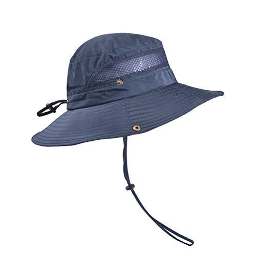 Chapéu de verão com aba larga da Liobo, chapéu de proteção solar para acampamento, caminhada, montanhismo (bege), Dark Blue, 56*10 cm
