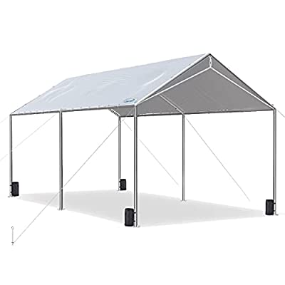 Quictent 10X20'ft Upgraded Heavy Duty Carport Car Canopy Party Tent with 3 Reinforced Steel Cables-Gainsboro