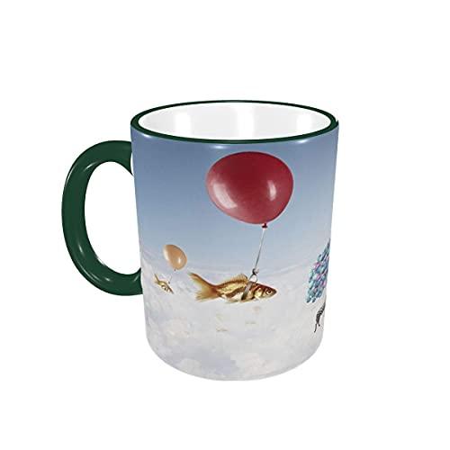 Taza de café Fly Goldfish Zebra Globo Tazas de café Tazas de cerámica con Asas para Bebidas Calientes - Cappuccino, Latte, Tea, Cocoa, Coffee Gifts 12 oz Green
