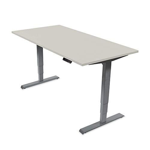 Ergotopia Elektrisch höhenverstellbarer Schreibtisch 5 Jahre Garantie | Ergonomischer Steh-Sitz Tisch mit Memory Funktion | Beugt Rückenschmerzen vor & Macht produktiver (160x80, Grau, G)