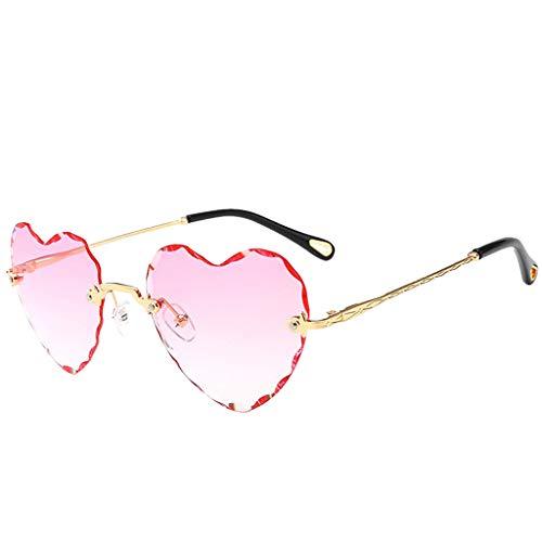 harayaa Gafas de Sol Sin Montura para Mujer con Forma de Corazón UV400 Gafas de Sol - Rosado, Tal como se Describe