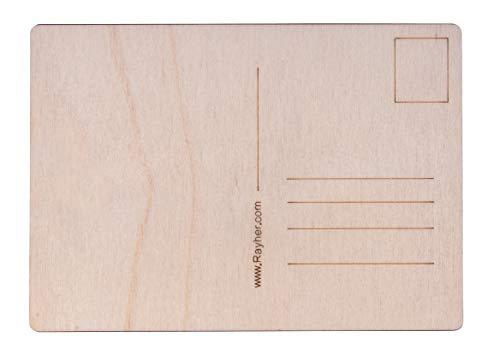Rayher 62876505 Holz Postkarten, 14,8 x 10,5 x 0,3 cm, Btl. 26 Stück, Postkarten aus Holz