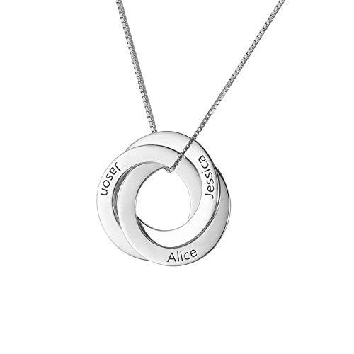 Supreme glory Kupfer Personalisierte Namenskette Russische Ring Halskette Kette mit Gravur Familienhalskette mit 3 Namen Personalisierter Schmuck für Damen mit Box