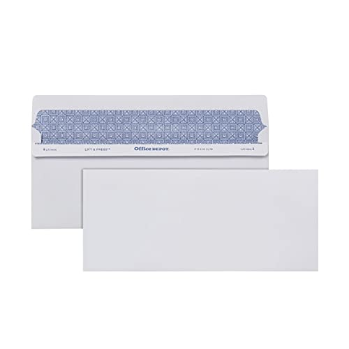 Office Depot Lift Press(TM) Premium Envelopes, 10 (4 1/8in. x 9 1/2in.), 100% Recycled, White, Pack of 500, 76145