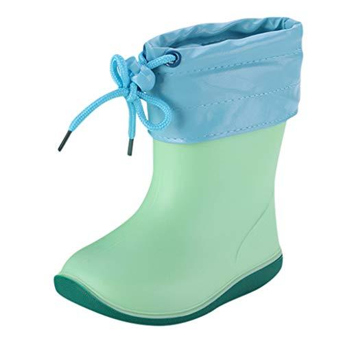 WEXCV Unisex Baby Jungen Mädchen Gummistiefel Kinder Einfarbig Cartoon Ente Verdicken Schnürsenkel Schuhe Kinderschuh rutschfest Wasserdicht Schuhe Regenstiefel (29 EU, H-Grün)