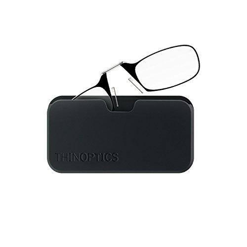 ThinOptics Universal Pod Rectangular Reading Glasses, Blk Frames/Blk Case, 2 x + 2