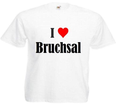 T-Shirt I Love Bruchsal Größe 2XL Farbe Weiss Druck Schwarz