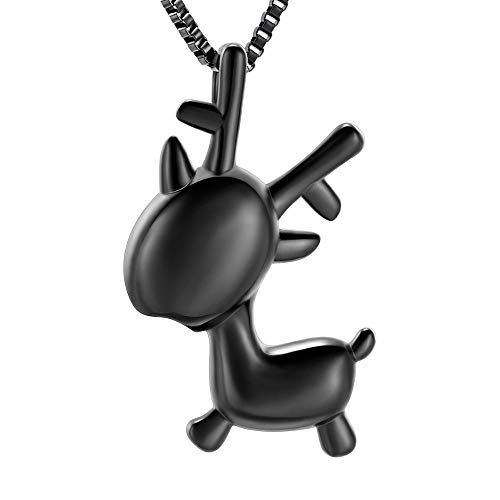 QQAQQ Small Urns for Ashes Cremation Jewelry for Ashes Stainless Steel Cute Deer Pendant Ash Keepsake Memorial Jewelry for Women/Girl As A Souvenir Gift-Black_Necklace Box Funnel