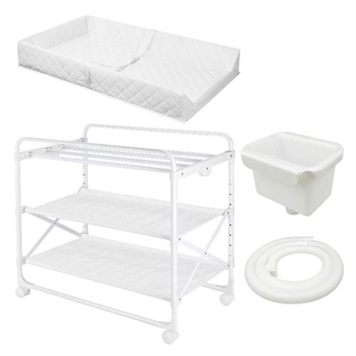 Baby Changing Dresser Table with Wheels & Large-Capacity Storage Compartment, Folding Infant Diaper Station for Small Spaces, White