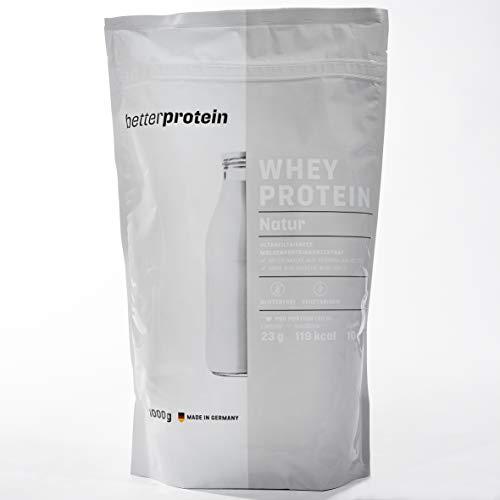 Whey Protein - Natur 1 kg - Hergestellt in Deutschland aus regionaler Milch ohne unnötige Zusätze ohne Süßstoffe - BetterProtein® - Eiweißpulver zum Muskelaufbau und Abnehmen - Beutel