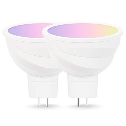 LOHAS - Lampadina smart WiFi, a LED, MR16, controllo vocale via Alexa e Google Home, bianco caldo + colori RGB intercambiabili, equivalente a 50 W, non richiede hub, per creare una casa smart, 2pezzi