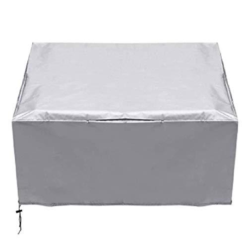 ZXFB Cubierta de Muebles de Jardin 126X126X74cm, Funda Protectora para Muebles, Rectangular Muebles Mesa UV Heavy Duty Rip Prueba 210D Oxford Tela Cubierta de Juego de Patio, Muebles, Plata,